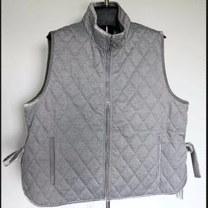 Banana Republic Quilted Vest Jacket velvet trim